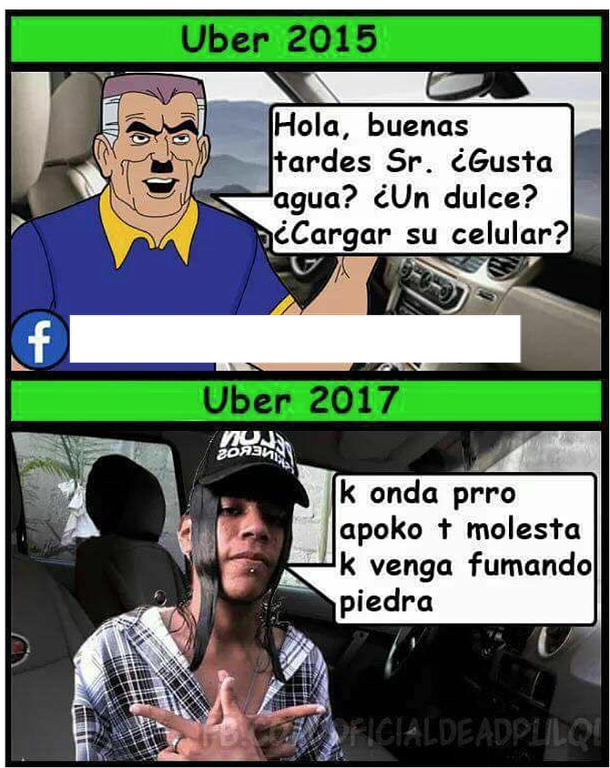 Meme suggesting decline in quality of Uber drivers