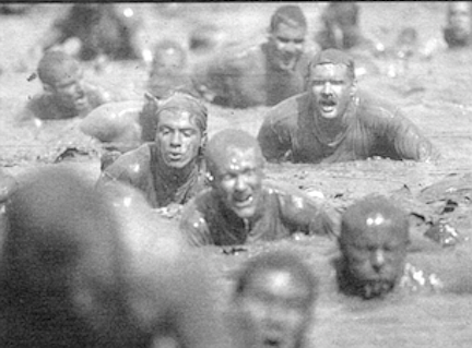 """Mud race, Camp Pendleton. Once an animal """"learns its place,"""" its testosterone level returns to normal."""