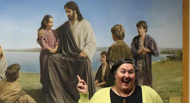 Jesus Christ with the Children and Sarah Biggart as an adult