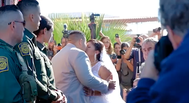 The wedding of Brian Houston and Evelia Reyes took only a couple minutes.