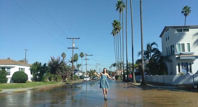 A pedestrian navigating Cable Street