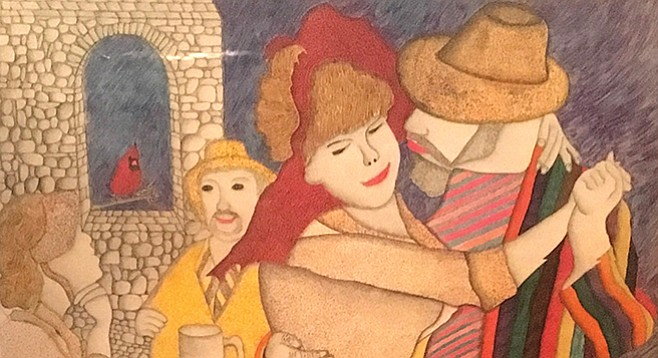 Detail from Santiago's work inspired by Renoir's Dance at Bougival
