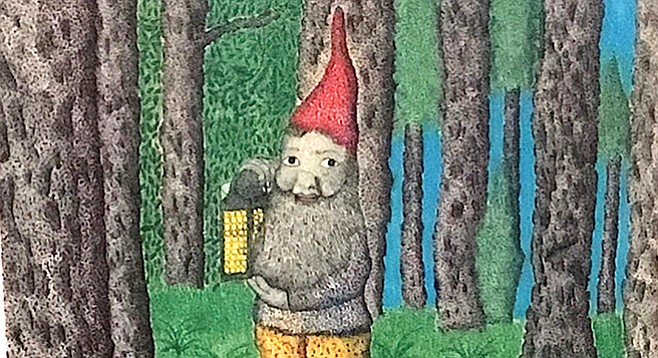 """Detail from Santiago's Del Mar Gnome in an English Forest. """"That's him,"""" says Tresha Souza."""