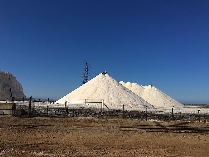 Salt pyramids at South Bay Salt Works, Chula Vista, CA, December 2017