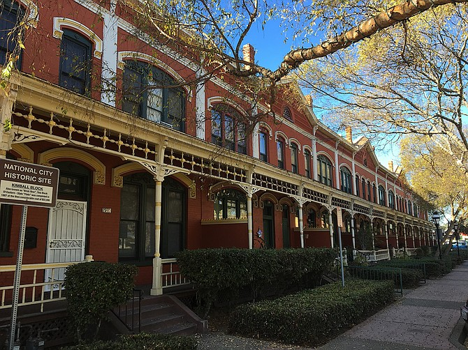 """Historic """"Brick Row"""" in National City.  Completed in 1887; built by Frank Kimball for railroad executives who brought people and commerce into National City; meant to be an imitation of Philadelphia row homes.  December 2017"""
