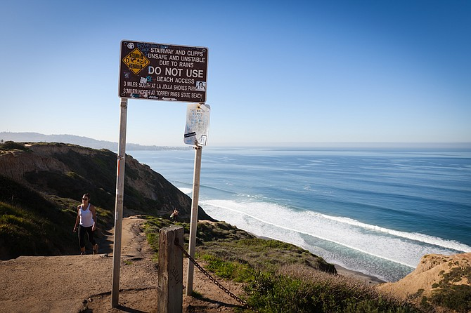 A sign warning not to use the trail that leads down the Torrey Pines cliffs from the gliderport to Black's Beach