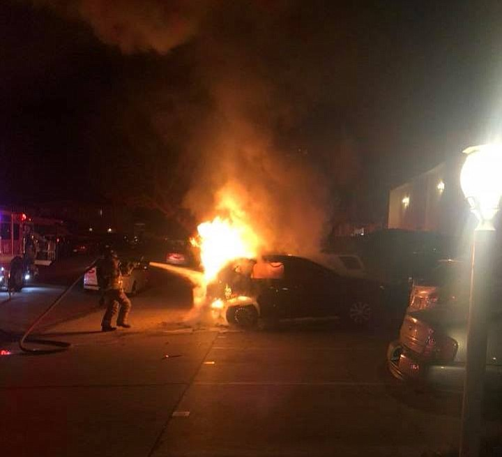 "The car owner said her living room was ""lit up"" from the fire below."