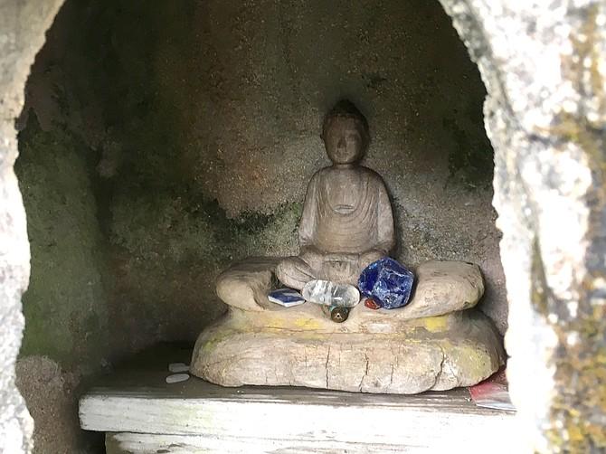 Hand carved deity, Lawai International Center