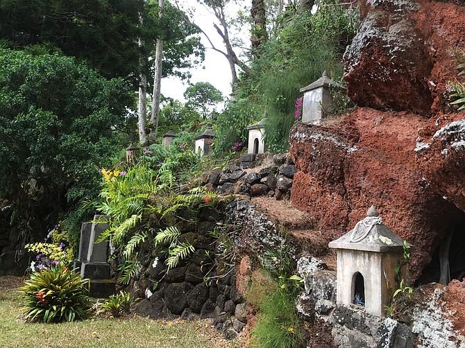 Shrines on the hillside, Lawai International Center