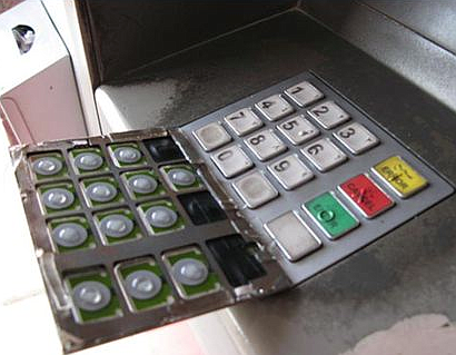 More sophisticated thieves mask their code-nabbing-keypad over the bank's keypad.