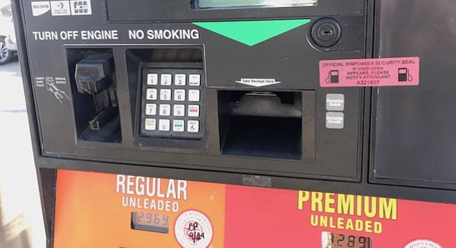 If the red security-seal stickers on the gas pumps appear white, they have likely been tampered with.