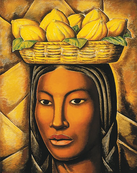 La India, by Ramos Martinez. A sculptural, mineralized peasant woman carrying a basket of mangos on her head.