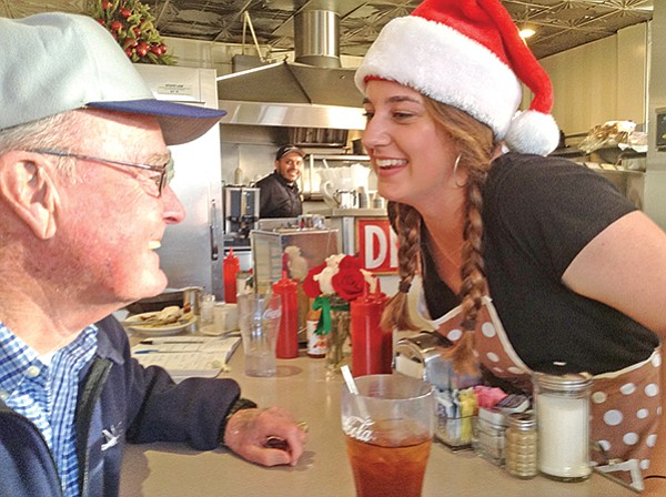 Bob, an ex-Navy pilot, and Katie, his granddaughter. She's home from Arizona State.