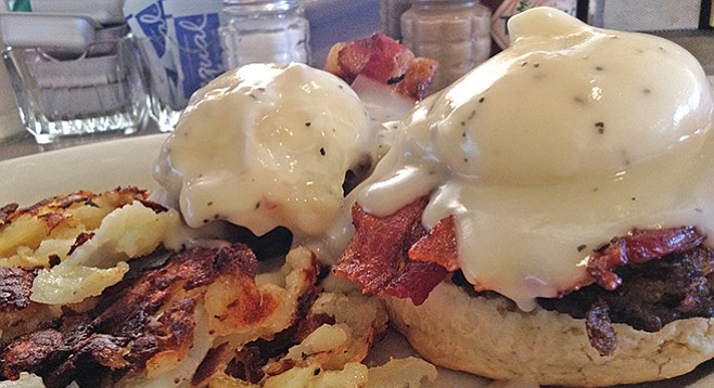 Country Benedict — with peppery gravy