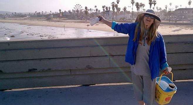 Jann Manning at work on the pier several years ago