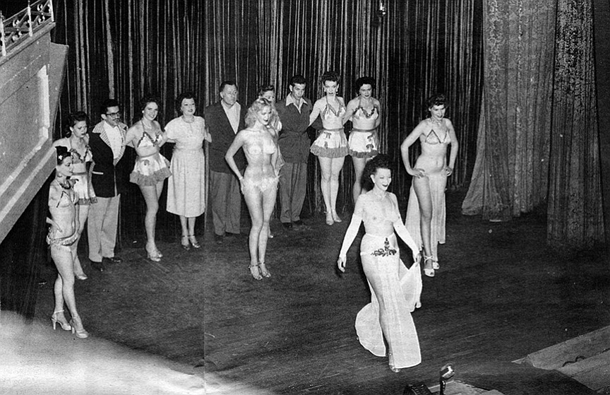 Kane as featured dancer (front and center), Hollywood Theater, San Diego, c. 1940s
