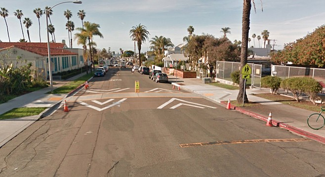 The crosswalk on Santa Monica Avenue