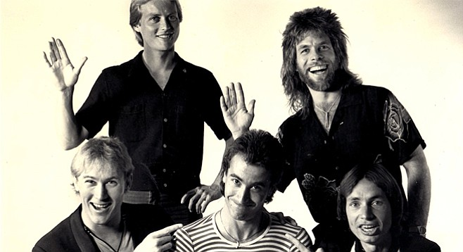 Bratz! Shaffer and Butler (front center, front right); no lesser Bratz (left to right): Lee Knight (bass, front left), Keith Loveland (keys, back row),  Paul Nichols (drums, with mullet)