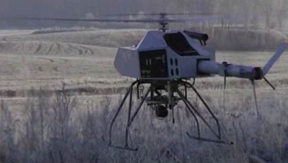 Randle's APID 5 (gas powered) helicopter drone that he says can stay airborne for up to four hours