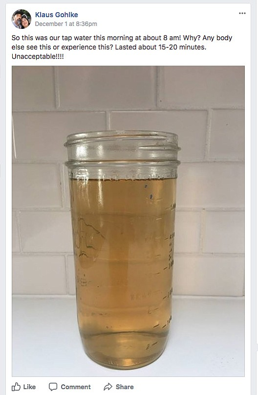 A resident's water sample in early December