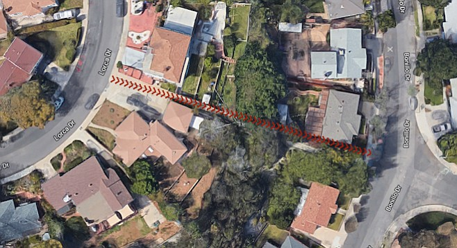 Red arrows indicate the catwalk that leads from Lorca Drive to Bonillo Drive