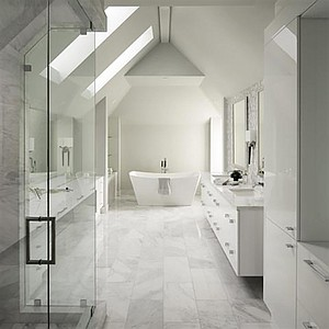 """A bathroom """"bathed in natural light"""""""