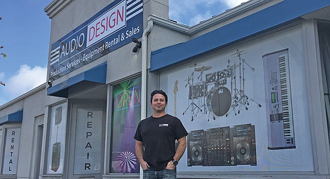 Mike Rubenhold in front of Audio Design