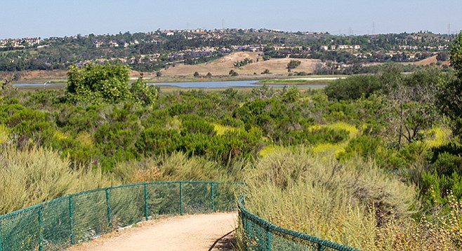 The trail parallels Encinitas Creek as it flows toward Batiquitos Lagoon.