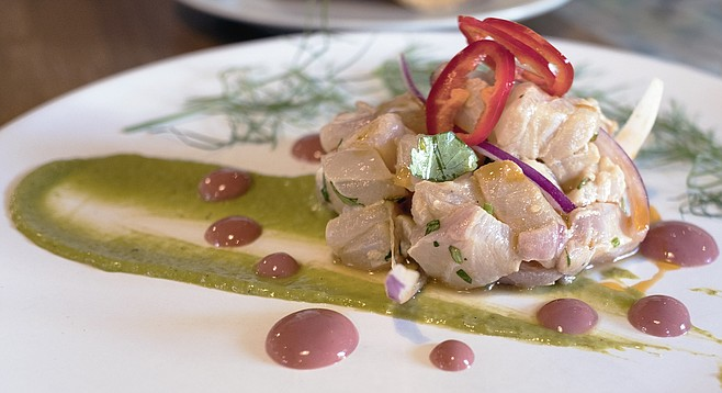 Grouper ceviche gets plated differently at the new Ceviche House
