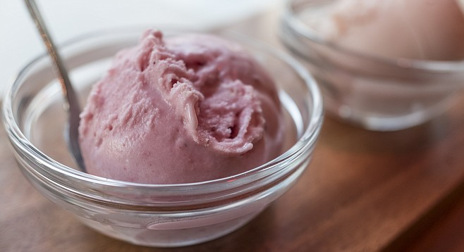 Vegan strawberry ice cream, made creamy with coconut