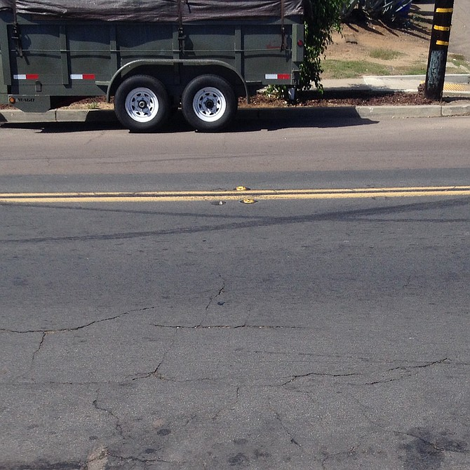 The skid marks after a pile-up on Moraga.