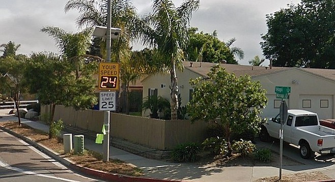 Radar-equipped signage was installed on Moraga Avenue (at Hopi) in 2016, but the traffic hazard persists.