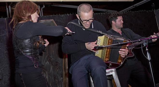 Hensley (center) riding the Brogue Wave at Black Plague Brewing on January 17th