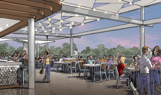 Artist's rendering of the drinking patio of the announced Ballast Point brewery at Disneyland.