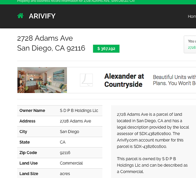 SDPB Holdings is listed as owner of the same Adams Avenue address given for SQFT, LLC