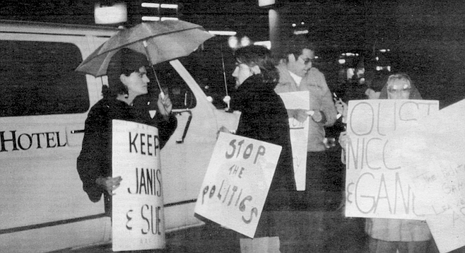 Picketers at AIDS event Five Who Care