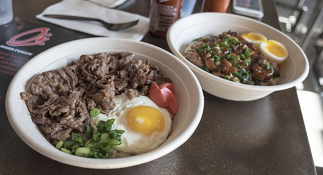 Tapsilog beef and adobo pork belly, each with soft-yolk eggs