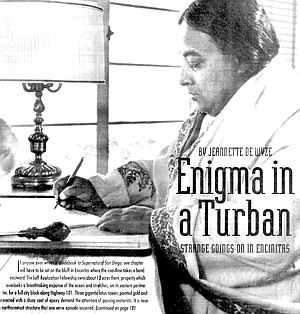 """Yogananda writing autobiography. """"He used to go across Highway 101 and visit with the people in the restaurant."""""""