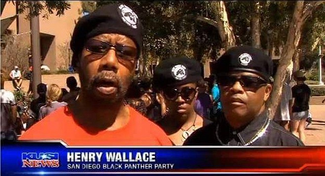 Wallace's Panther roots go back to the '60s. In 2016 he was on TV protesting the police killing of Alfred Olango.