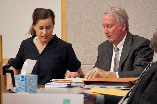 Diana Lovejoy and her private defense counsel, Brad Patton. Photo by Eva Knott