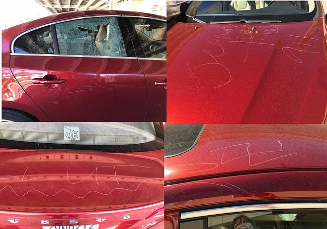 "On the morning of the meeting, one local found her car with a smashed out window, slashed tire, and ""slut,"" ""Jesus"" and a swastika keyed all over her car"
