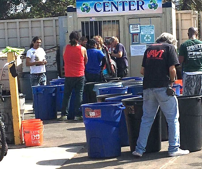 Recycling center behind Stump's Market on Voltaire.