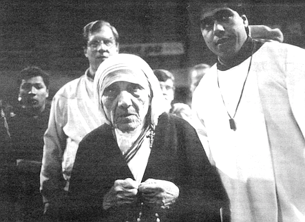 Mother Teresa, Tijuana, 1990. While Mother Teresa was in Tijuana, lots of new volunteers from the States came down.