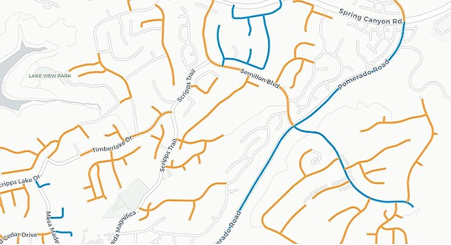 Numerous streets surrounding Scripps Trail (highlighted in orange and blue) have been repaired in recent years