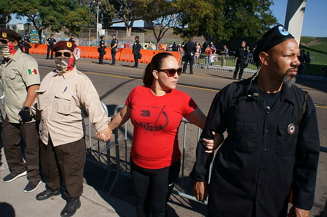 Counter-protesters formed a barrier at Chicano Park.