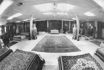 Showroom. In Iran, they clean the best rugs in a river and nowhere else.