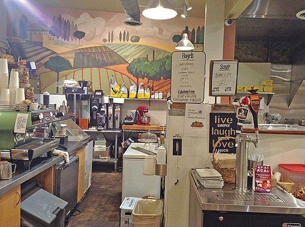 Working kitchen's the heart of this deli-liquor store.