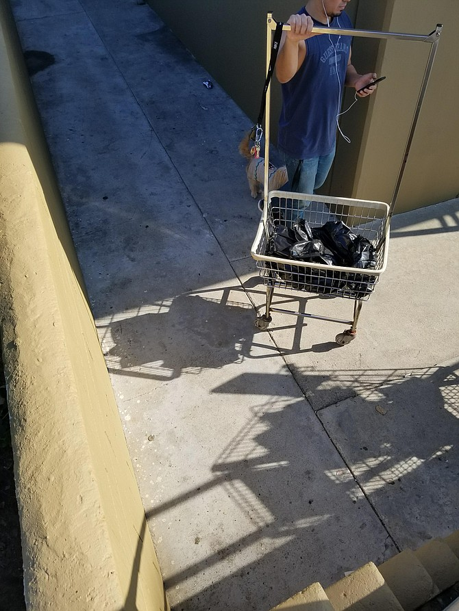 This gentleman found a sac of weed in his abaonded laundry cart on Tuesday.