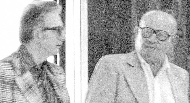 FBI surveillance photo of Jimmy Fratianno (left) and Frank Bompensiero