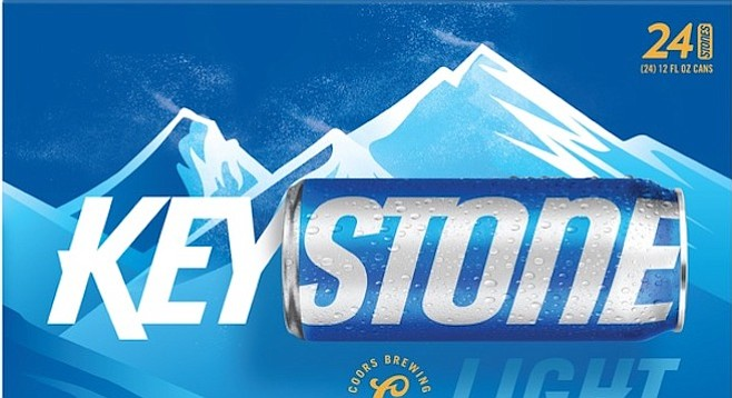 """In 2017, the labels of Keystone Light cans were redesigned, graphically separating the words """"key"""" and """"stone."""""""